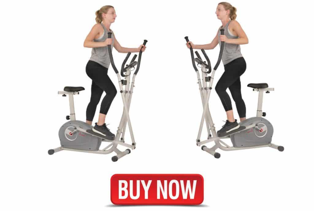 Sunny Health & Fitness 2 in 1 Magnetic Elliptical Upright Bike
