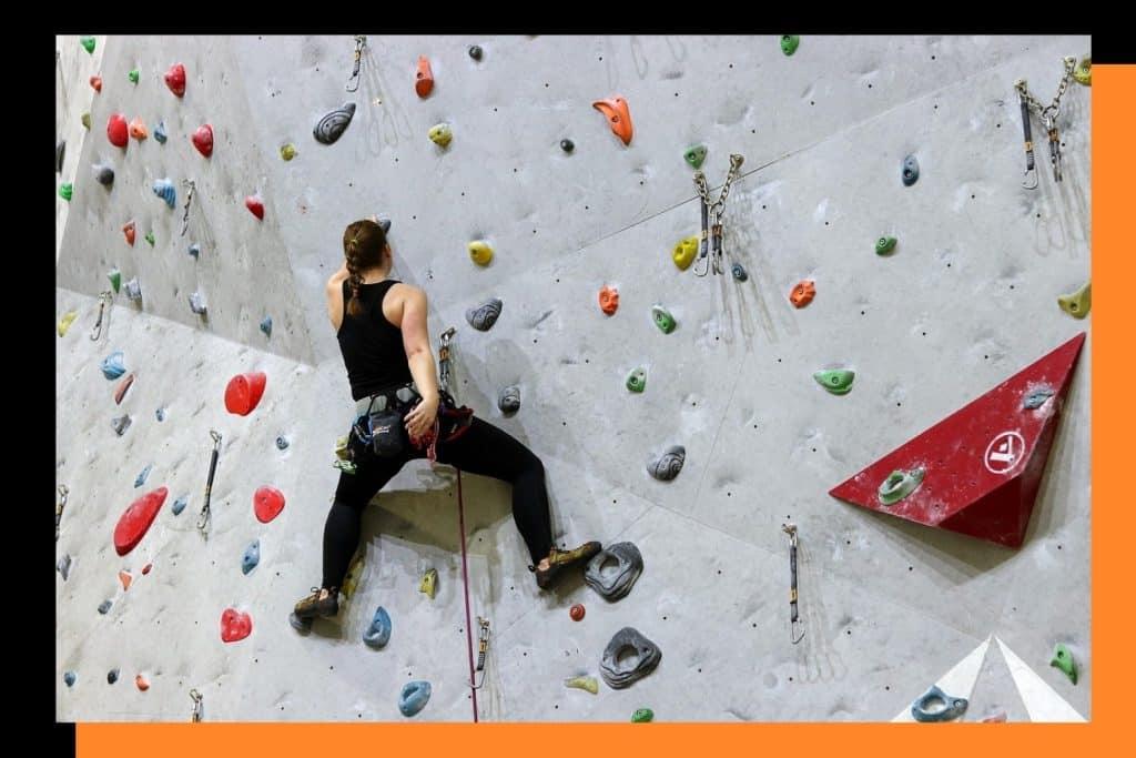A rock climbing gym wall